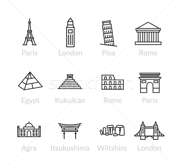 World landmarks outline icons set Stock photo © sidmay