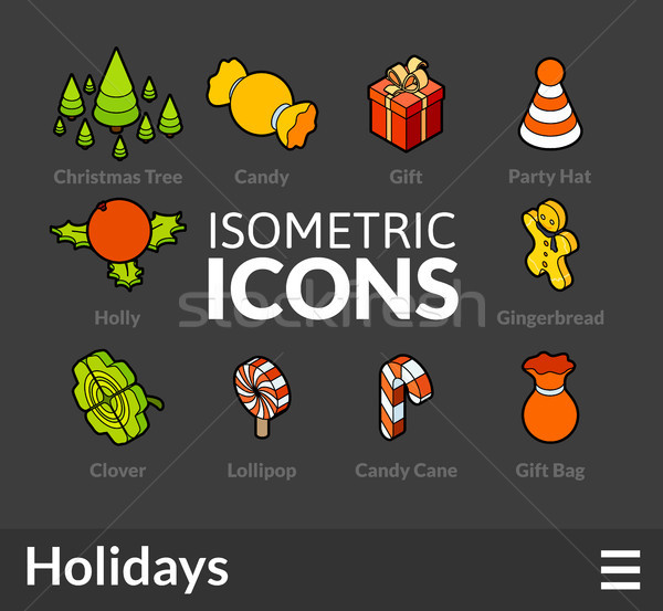 Isometric outline icons set 52 Stock photo © sidmay