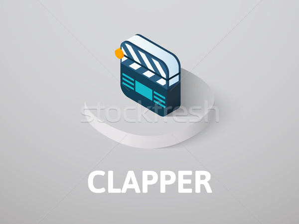 Clapper isometric icon, isolated on color background Stock photo © sidmay