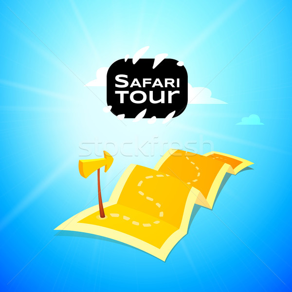 Sfari concept logo, long route in travel map with guide marker Stock photo © sidmay