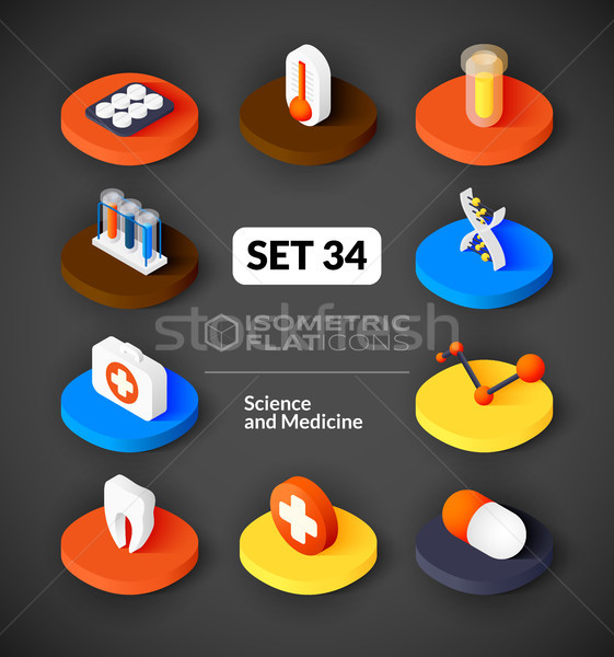 Isometric flat icons set 34 Stock photo © sidmay