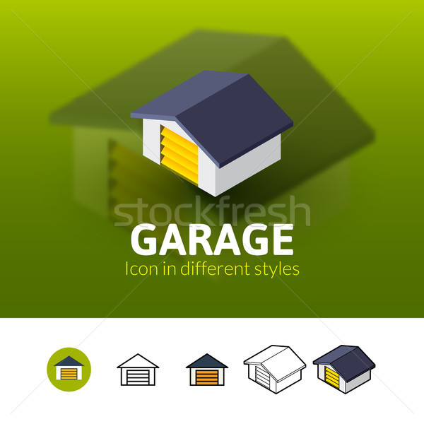 Garagem ícone diferente estilo cor vetor Foto stock © sidmay