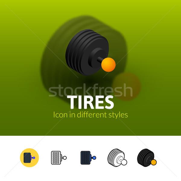 Foto stock: Neumáticos · icono · diferente · estilo · color · vector