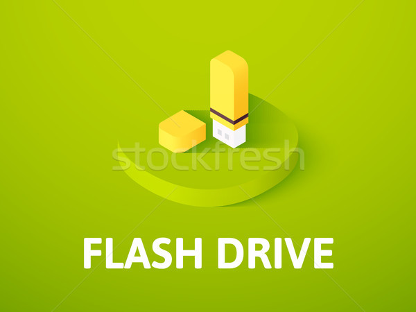 Flash drive isometric icon, isolated on color background Stock photo © sidmay