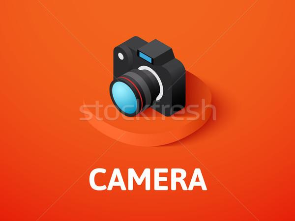 Foto d'archivio: Fotocamera · isometrica · icona · isolato · colore · vettore