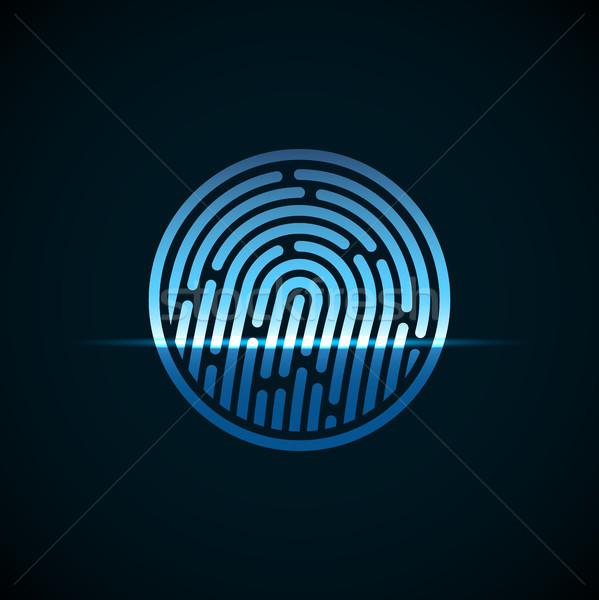 Impressão digital identificação azul transparência luz projeto Foto stock © sidmay