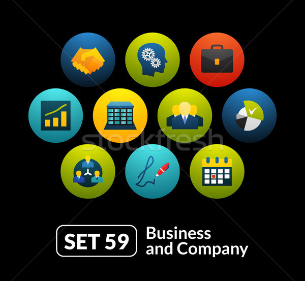 Flat icons set 59 - business and company Stock photo © sidmay