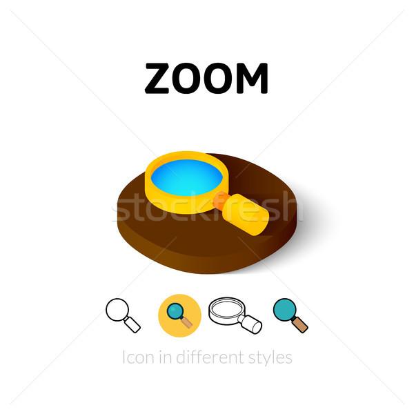 Zoom icona diverso stile vettore simbolo Foto d'archivio © sidmay