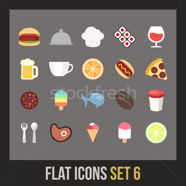 Flat icons set 6 Stock photo © sidmay