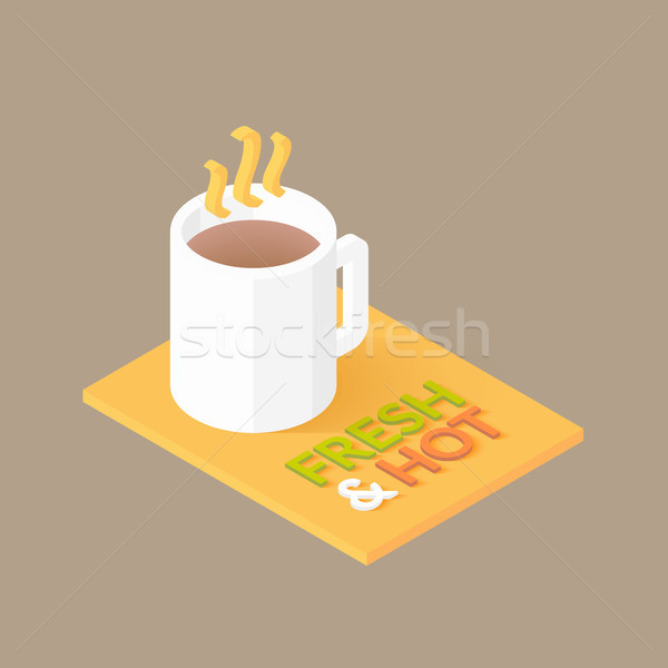 Hot coffee in white cup icon Stock photo © sidmay