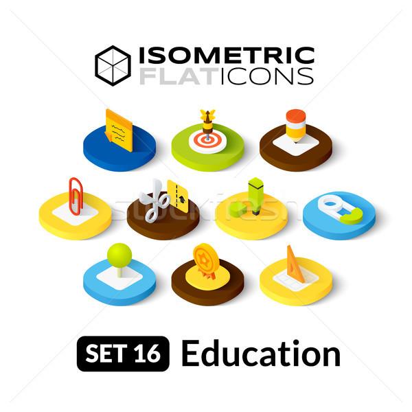 Izometryczny 16 ikona 3D piktogramy Zdjęcia stock © sidmay