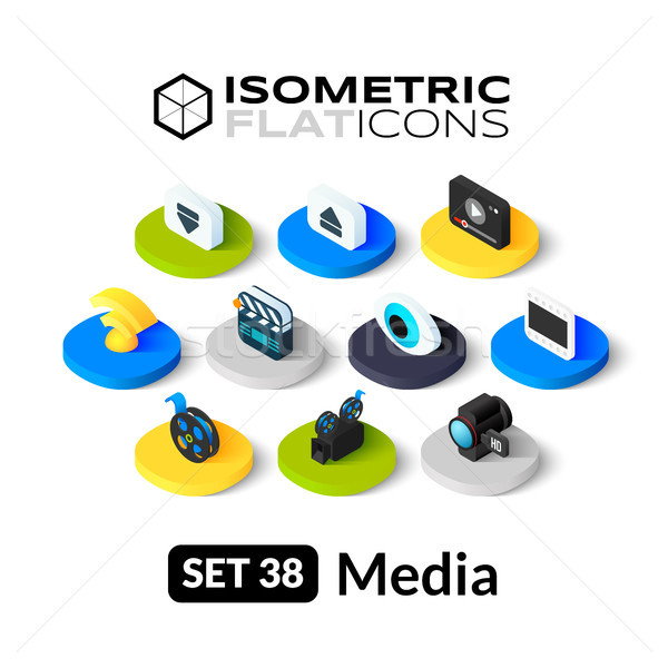 Isometric flat icons set 38 Stock photo © sidmay
