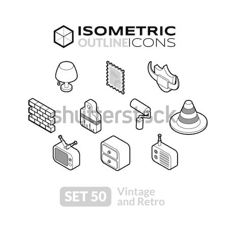 Isometric outline icons set 34 Stock photo © sidmay