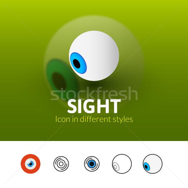 Látnivaló ikon különböző stílus szín vektor Stock fotó © sidmay