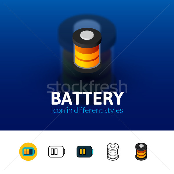 Battery icon in different style Stock photo © sidmay