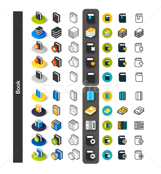 Stock photo: Set of icons in different style - isometric flat and otline, colored and black versions