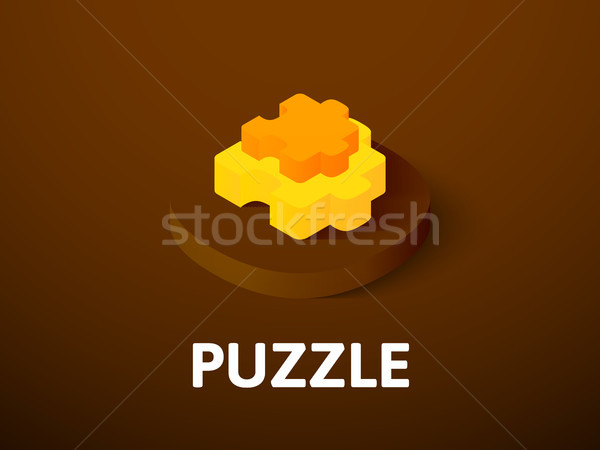 Stock photo: Puzzle isometric icon, isolated on color background