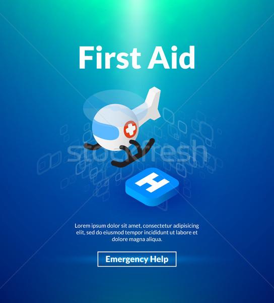 First aid poster of isometric color design Stock photo © sidmay