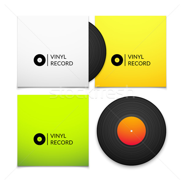 Black vintage vinyl record with blank yellow and green cover case isolated on white background Stock photo © sidmay