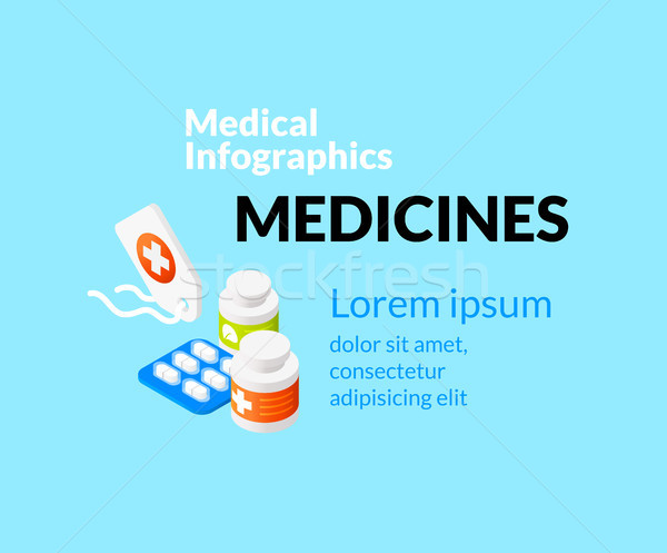 Medical healthcare infographic set with isometric flat icons, medicines concept Stock photo © sidmay