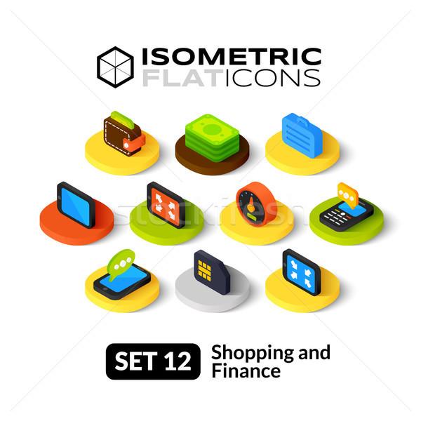 12 iconos 3D pictogramas Foto stock © sidmay