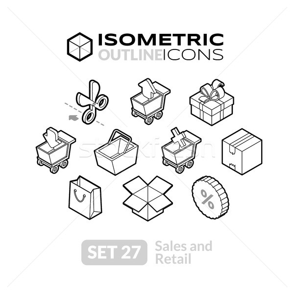 Isometric outline icons set 27 Stock photo © sidmay