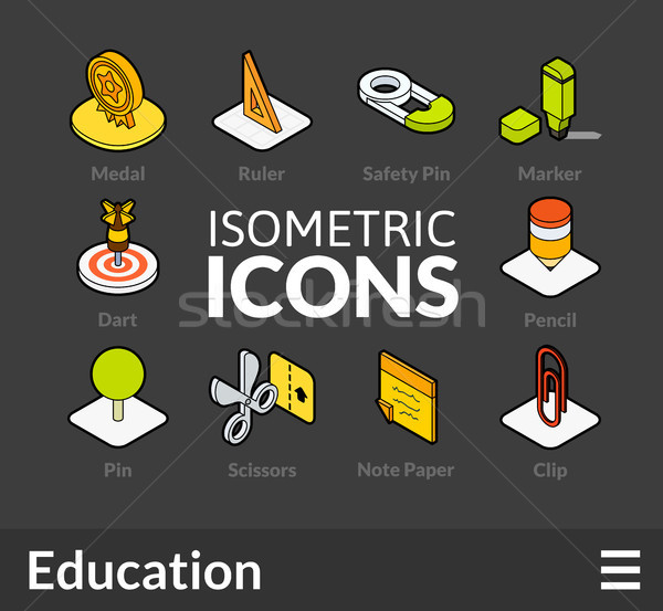 Isometric outline icons set 16 Stock photo © sidmay