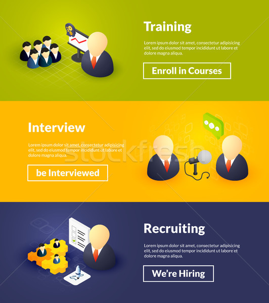 Training interview and recruiting banners of isometric color design Stock photo © sidmay