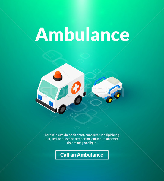 Stock photo: Ambulance poster of isometric color design