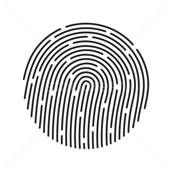 Fingerprint identification system, black symbol isolated on white Stock photo © sidmay