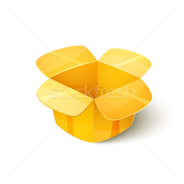 Empty cardboard packaging, open box icon in cartoon style Stock photo © sidmay