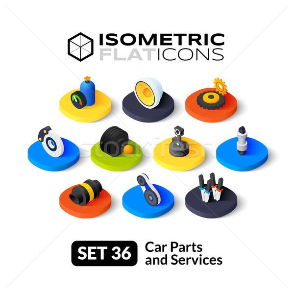 Isometric flat icons set 36 Stock photo © sidmay