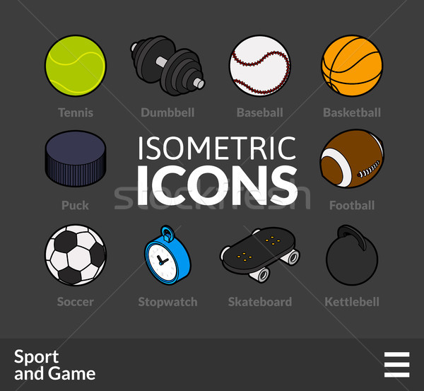 Isometric outline icons set 46 Stock photo © sidmay