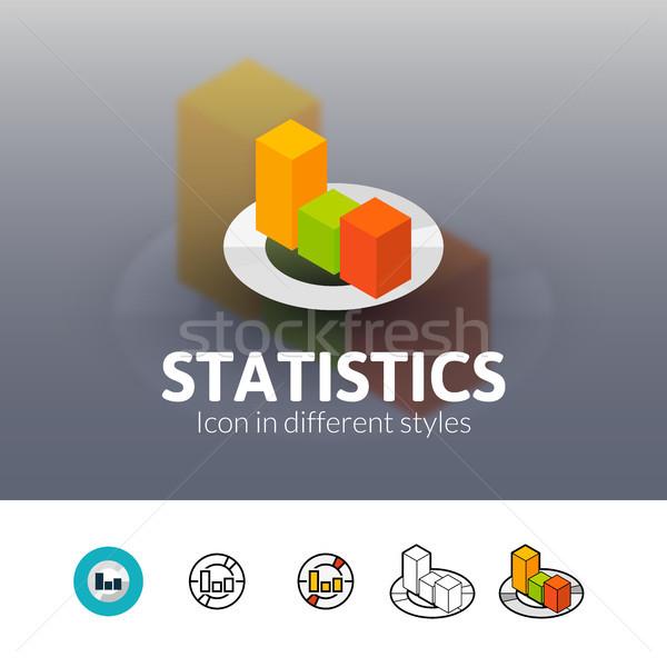 Statistiek icon verschillend stijl kleur vector Stockfoto © sidmay