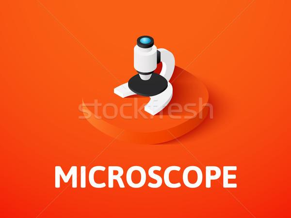 Mikroskopem izometryczny ikona odizolowany kolor wektora Zdjęcia stock © sidmay