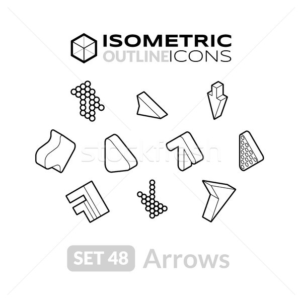 Isometric outline icons set 48 Stock photo © sidmay
