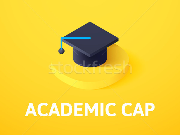 Academic cap isometric icon, isolated on color background Stock photo © sidmay