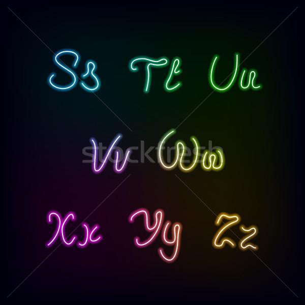 Neon rainbow color glow alphabet. Stock photo © sidmay