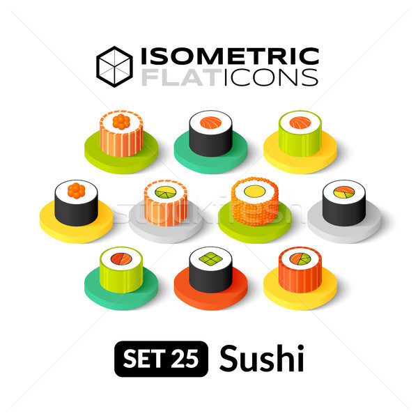 Isometric flat icons set 25 Stock photo © sidmay