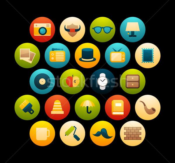 Ikon szett 14 ikonok vektor szett klasszikus Stock fotó © sidmay