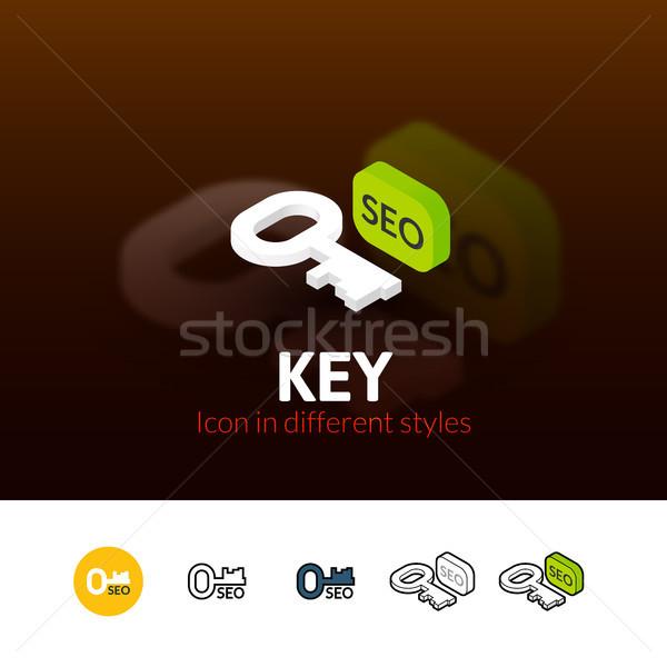 Stockfoto: Sleutel · icon · verschillend · stijl · kleur · vector