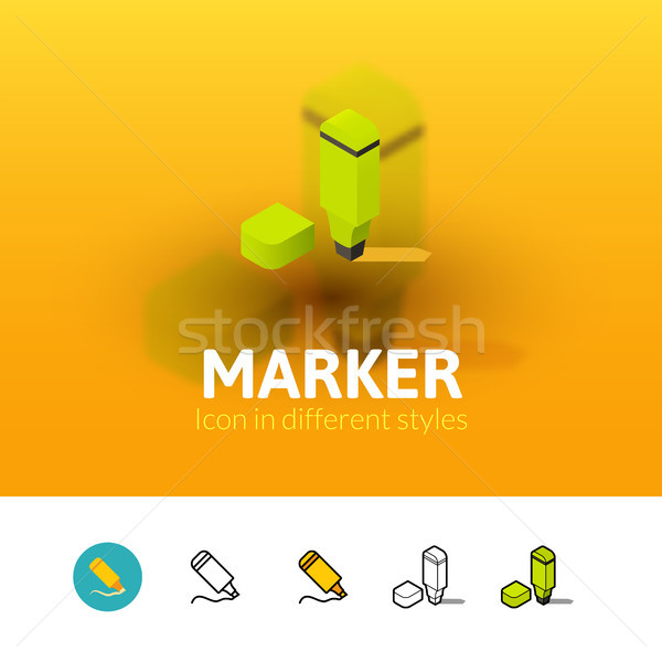 Marker icon in different style Stock photo © sidmay