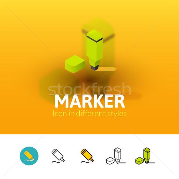 Marker Symbol unterschiedlich Stil Farbe Vektor Stock foto © sidmay