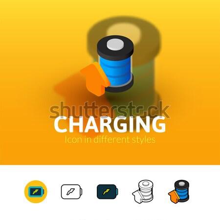 мусор икона различный стиль цвета вектора Сток-фото © sidmay