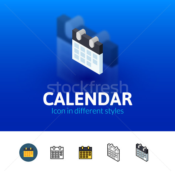 Calendar icon in different style Stock photo © sidmay