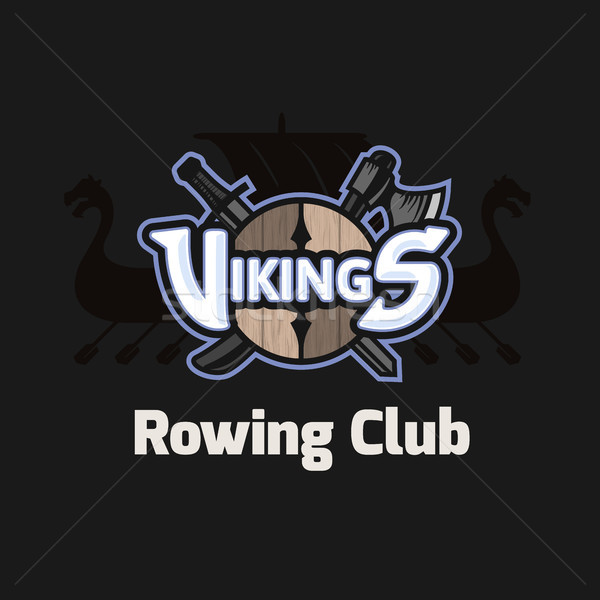 Vikings sport logo, vector emblem for rowing club Stock photo © sidmay