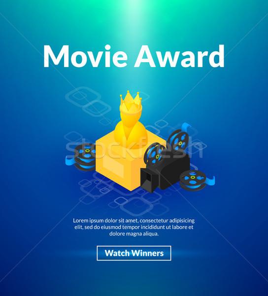 Film ödül poster izometrik renk dizayn Stok fotoğraf © sidmay