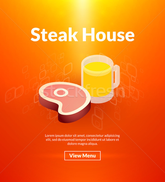 Steak house poster of isometric color design Stock photo © sidmay