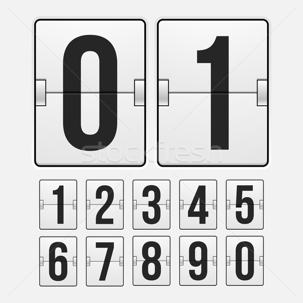 Geriye sayım saat beyaz renk mekanik sayı tahtası Stok fotoğraf © sidmay