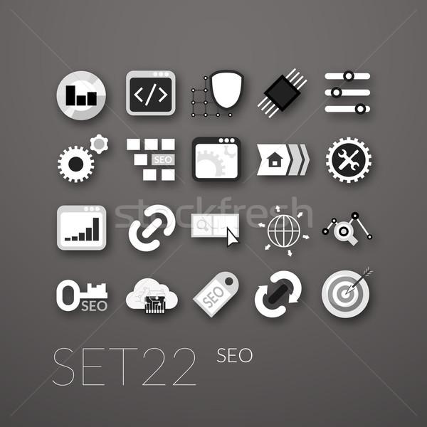 Flat icons set 22 Stock photo © sidmay